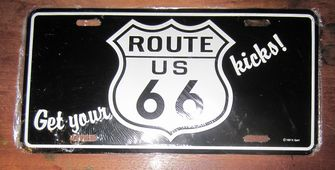 funny license plate get your kicks on route 66