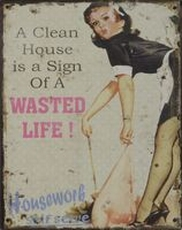 33 metal plate 461 a clean house is a sign of a wasted life