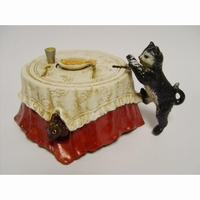 gietijzeren spaarpot model cat, mouse & fish