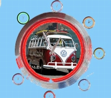 02 neonklok model volkswagen camper rood wit