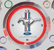 22 neonklok model ford mustang white