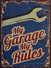 24 metal plate 394 my garage my rules blue
