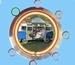 05 neonklok model volkswagen camper blauw wit
